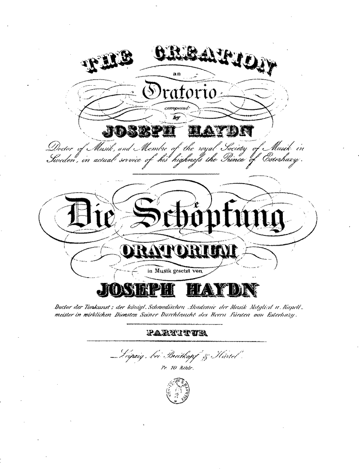 Haydn Creation first edition